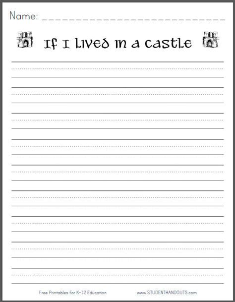 Writing Templates For 3rd Grade by If I Lived In A Castle Free Printable K 3 Writing