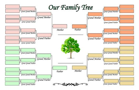 printable family tree template 5 generations four generation family tree template pictures reference