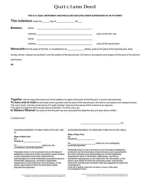 free printable quit claim deed for new york new york quit claim deed form deed forms deed forms