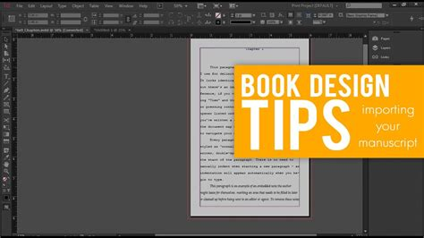 book layout design youtube importing your manuscript into indesign book design