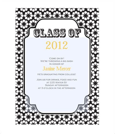 free word templates for graduation invitations 7 graduation invitation templates