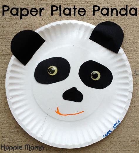 Paper Plate Animal Crafts - paper plate panda carrie