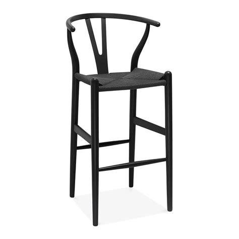 Wooden Stool With Backrest by Wishbone Wooden Bar Stool With Backrest Black 75cm Cult