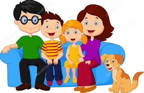 imagenes animadas de una familia feliz dibujos animados familia feliz sentado en el sof 225 vector