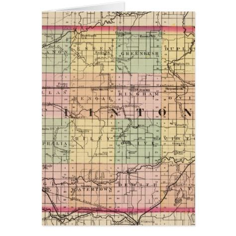 printable michigan postcards map of clinton county michigan greeting card zazzle