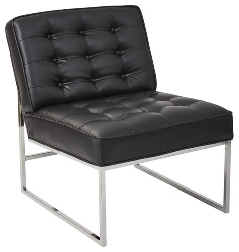 anthony 26 quot wide chair with chrome base and black faux