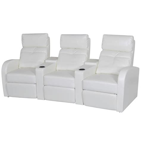 3 Seat Recliner Sofa Artificial Leather Home Cinema Recliner Reclining Sofa 3 Seat White Vidaxl
