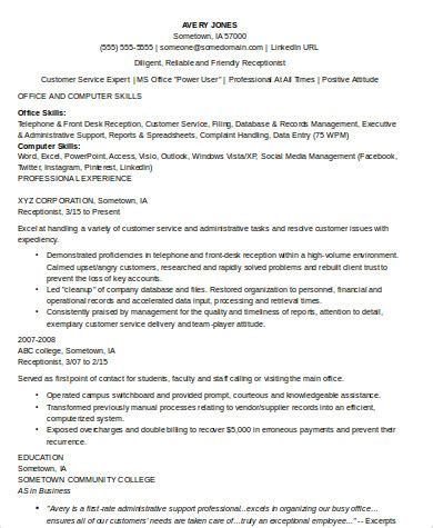 Receptionist Resume Skills by 8 Receptionist Resume Sles Sle Templates