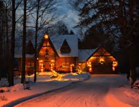 beautiful lights on houses drive house lights snow image 248282 on