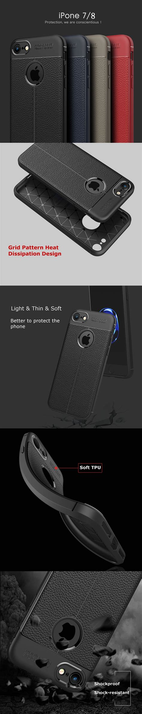 Softcase Anti Motif Iphone 6plus bakeey anti fingerprint soft tpu litchi leather cover for iphone x 7 8 7plus 8plus 6plus