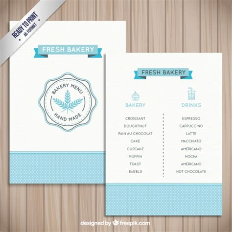simple menu template free simple bakery menu template vector free
