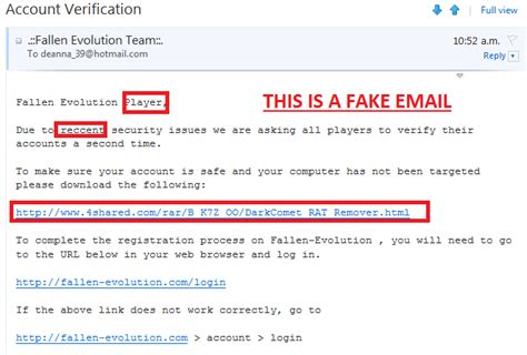 email fake fallen evolution