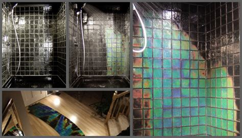 heat sensitive tiles using mosaic tiles in a bathroom drench the bathroom