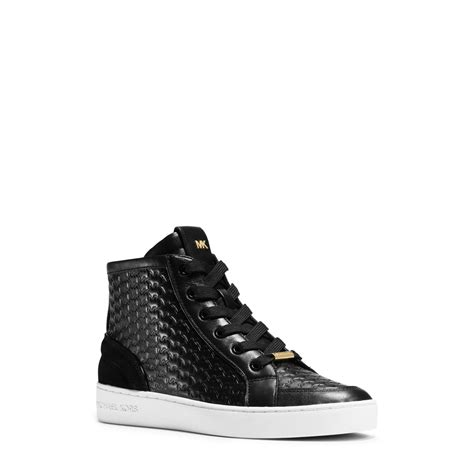 black michael kors sneakers michael kors colby embossed high top sneakers in black lyst