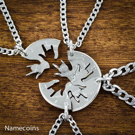 4 best friend necklace i you in asl cut on a