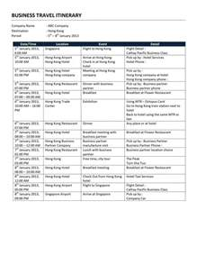 business travel itinerary template free microsoft word