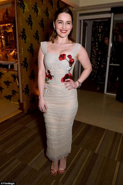 Emilia Clarke wears a sheer floral dress for HBO's Golden Globes afterparty   Daily Mail Online