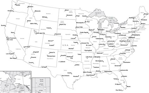america map black and white usa map with cities in adobe illustrator and powerpoint