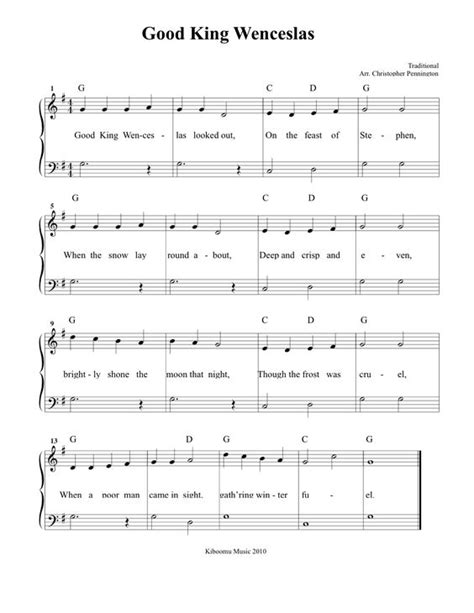 good king wenceslas free easy piano sheet music for good king wenceslas sheet music and christmas song for