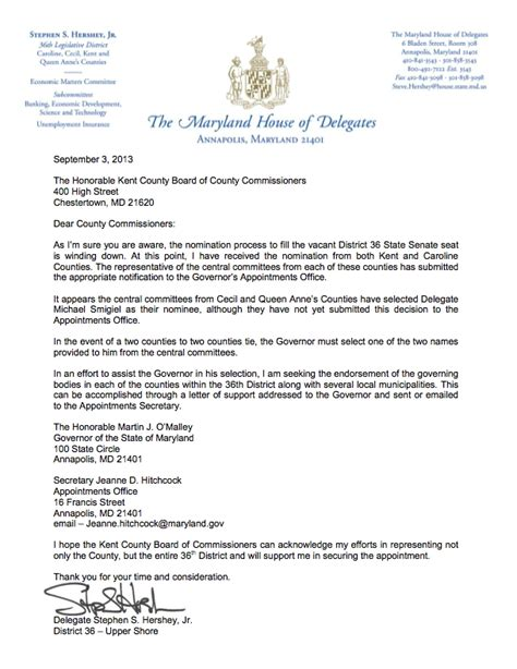 An Official Letterhead Hershey Asks Commissioners To Support Senate Bid Using Official Stationery Apparent Ethics