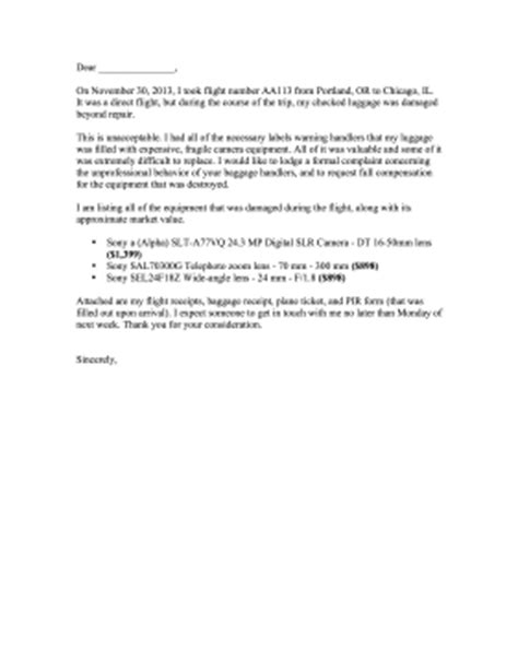 Complaint Letter To Airline For Delayed Luggage Damaged Luggage Complaint Letter