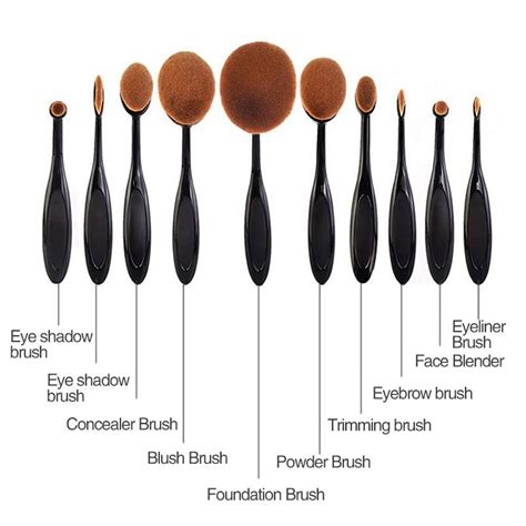 Kuas Oval Blending Brush Kuas Kosmetik Make Up Oval Brush Wajah 10 Pcs Black
