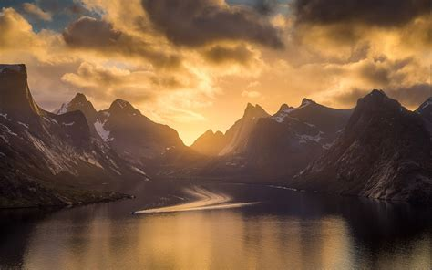 nature landscape mountain sky fjord sea norway