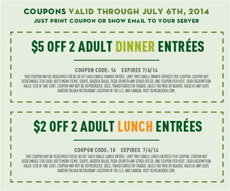 Olive Garden Discount Coupons by Free Printable Coupons Olive Garden Coupons