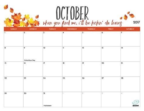 printable october 2017 calendar cute 2017 printable calendar for moms imom
