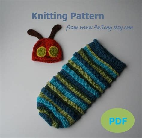 etsy cocoon pattern hungry caterpillar baby cocoon and hat knitting pattern in