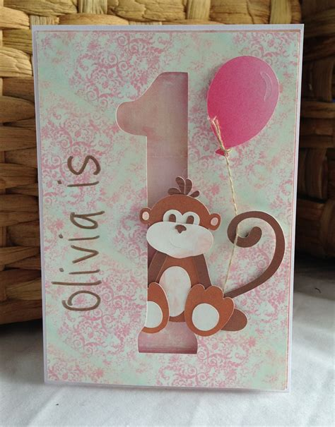 Handmade 1st Birthday Cards - handmade personalised 1st birthday card monkey