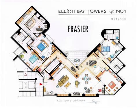 tv show house floor plans artist draws detailed floor from friends to frasier 13 famous tv shows rendered in