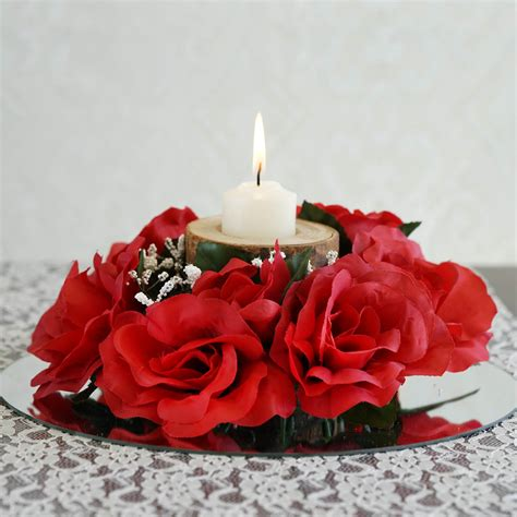 silk centerpieces 24 pcs silk roses flowers candle rings wedding tabletop