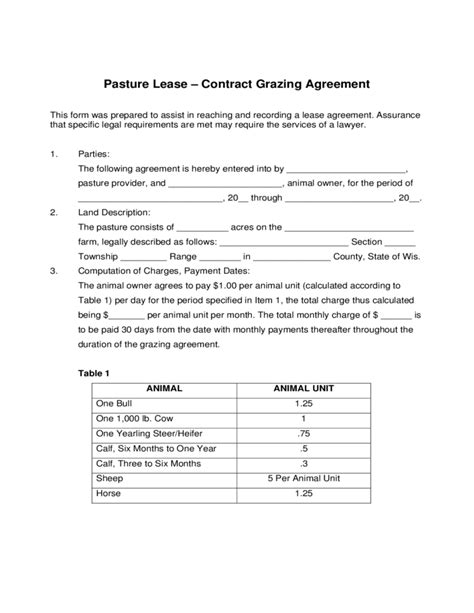 Pasture Lease Contract Grazing Agreement Free Download Grazing Lease Agreement Template