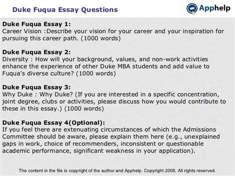 Fuqua Mba Essays by Duke Fuqua Essays