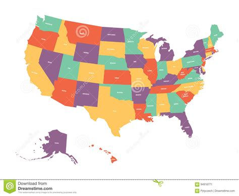 usa map with name of states usa map with names of states vector illustration