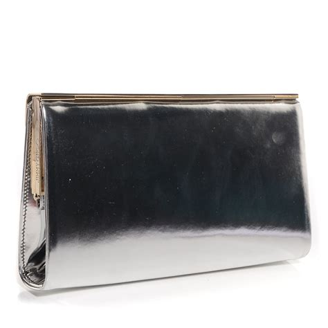 Jimmy Choo Shimmer Calfskin Clutch by Jimmy Choo Mirrored Calfskin Cayla Clutch Silver 81477