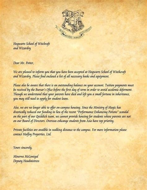 letter from hogwarts template harry potter acceptance letter template hogwarts