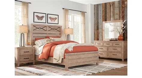 Alpine Lake Washed Oak 7 Pc King Panel Bedroom Transitional Washed Oak Bedroom Furniture