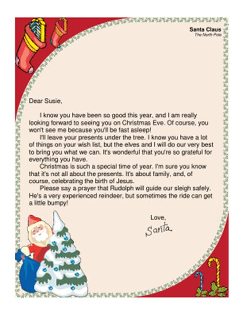 Religious Letter From Santa Christian Letter Template Free