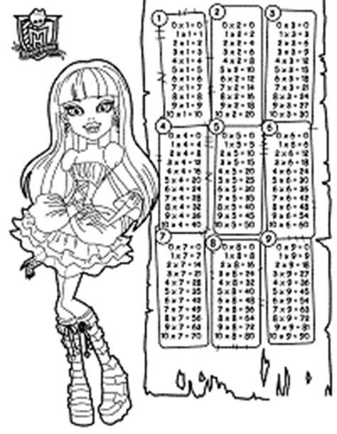 tavola pitagorica da stare per bambini tabelline da colorare disegno 2