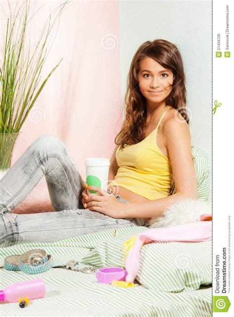 food in the bedroom teenage girl in bed with fast food coffee royalty free stock images image 21434729