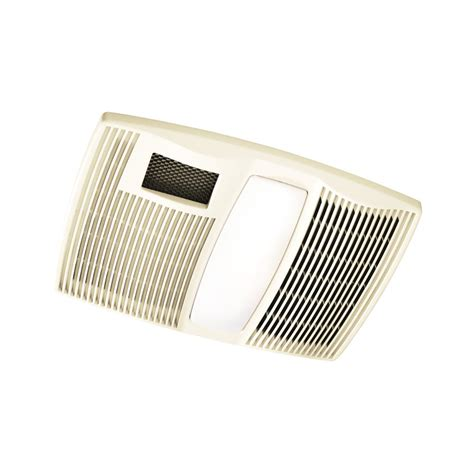 Bathroom Light With Heater And Fan Shop Broan 0 9 Sone 110 Cfm Polymeric White Bathroom Fan With Integrated Heater And Light At