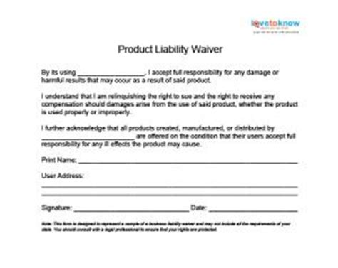 Free Liability Release Forms Product Liability Disclaimer Template