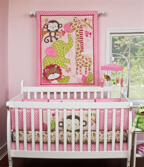 Jungle Crib Sheets by Pink Crib Bedding Musical Mobile Nursery And