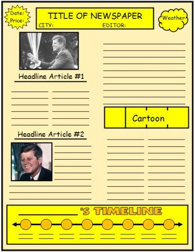 Biography Report Ideas For Elementary | biography book report newspaper templates printable