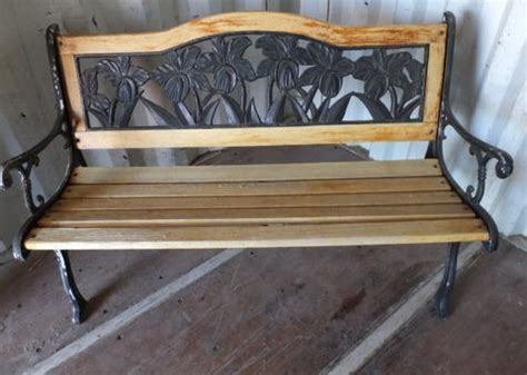 garden bench wrought iron and wood lot detail pretty floral wrought iron and wood garden bench