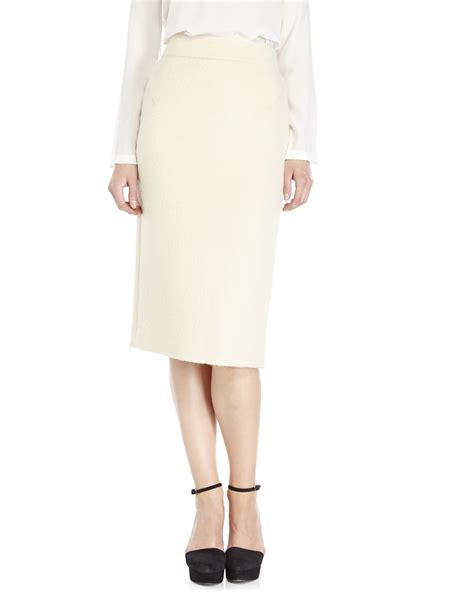 Ivory Skirt lyst raoul ivory wool pencil skirt in white