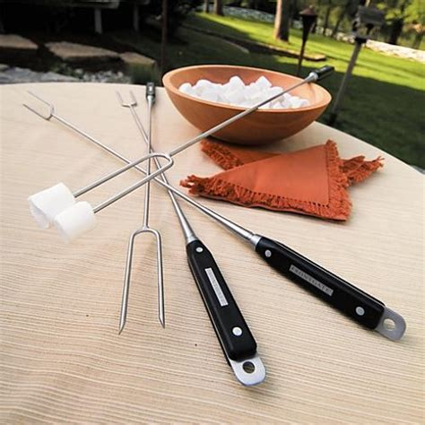 Firepit Tools Set Of Four Pit Roasting Tools Frontgate Traditional Fireplace Accessories By Frontgate