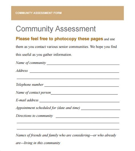 community templates community needs assessment 9 free for pdf